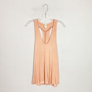 Free People | coral orange t-strap tank top small
